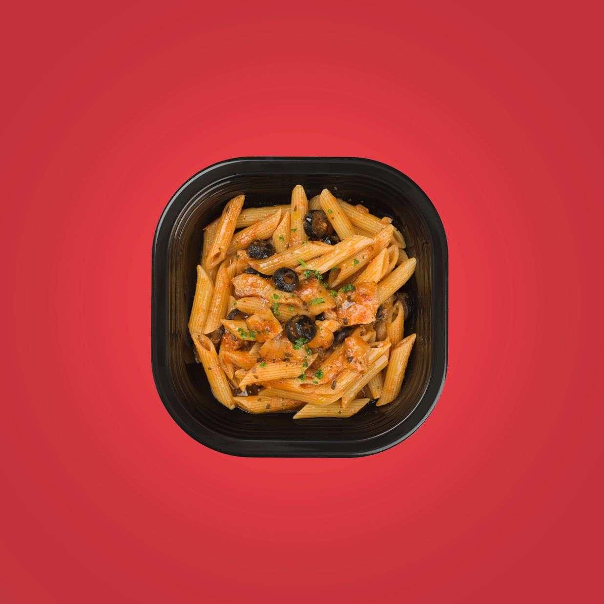 penne al sugo di scorfano e olive nere piatti pronti a domicilio senza glutine
